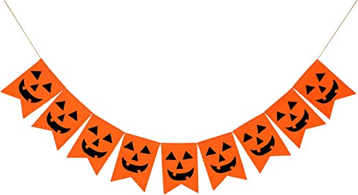Boao 2 Sets Halloween Burlap Banner Thanksgiving Day Pumpkin Banner Harvest Bunting Garland for Home Festival Decoration Party