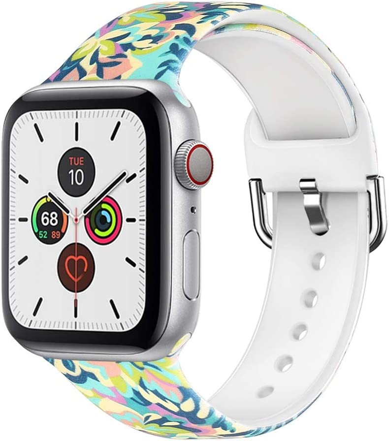 Floral Bands Compatible with Apple Watch Bands Series SE/6/5/4/3 38mm 40mm 42mm 44mm Silicone Pattern Printed Replacement Bands for Iwatch QINMU1029 (#2,42mm/44mm S/M)