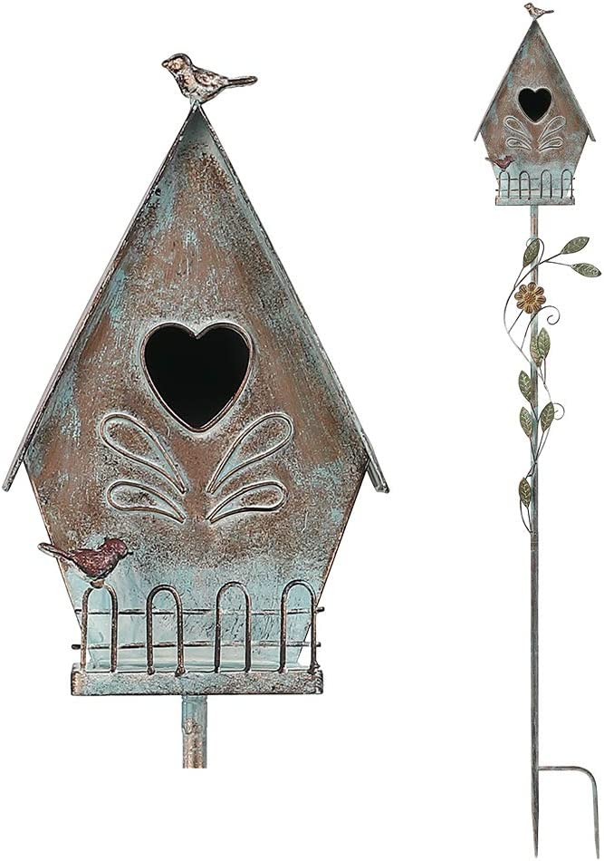 Brogan 57 Inch Tall Distressed A-Style Cottage Design Birdhouse Garden Stakes, Bird House Decorative for Lawn Patio Yard Art or Other Outside Space, Heart Entrance Accent