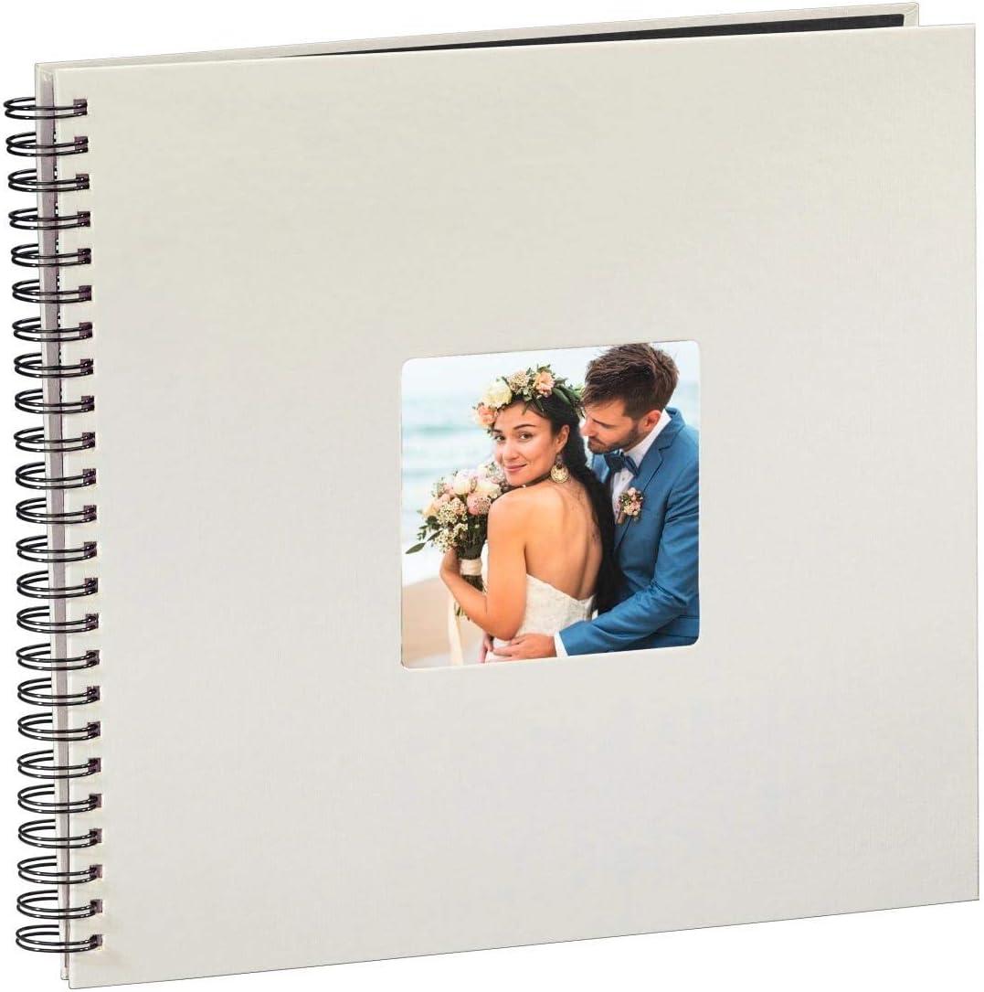 Hama Fotos (50 páginas Negras, álbum con Espiral, 36 x 32 cm, Compartimento para Insertar Foto), Tiza
