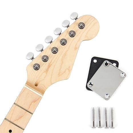 Kmsie - Cuello de guitarra eléctrica con placa de cuello para sintonizador para recambio ST partes