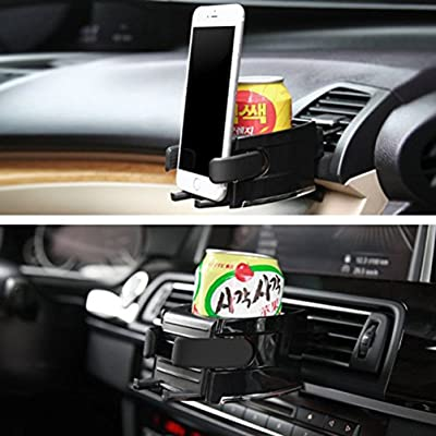 VORCOOL 2in1 Car Cup Holder Adjusting Hook Water Bottle Holder Air Vent Phone Holder Bracket (Black): Automotive