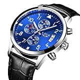 Men's Fashion Analog Quartz Watch with Black Leather Chronograph Waterproof Date Sport Watches