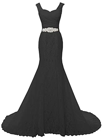 cd85c1765f2e8 SOLOVEDRESS Women's Beaded Lace Evening Dress Prom Bridal Gown Beach Mermaid  Wedding Dress (Black,