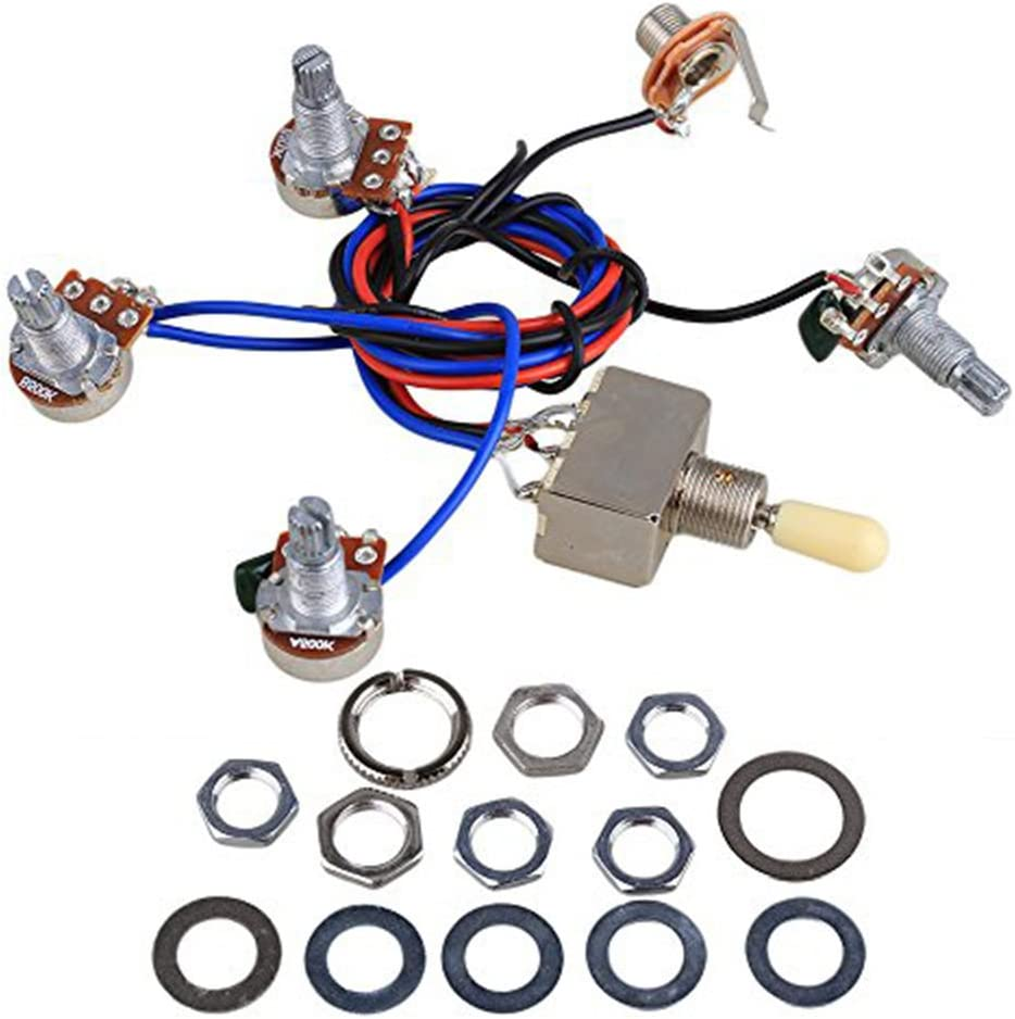 Electric Guitar Wiring Harness Kit LP Replacement, 2T2V 3 Way Toggle Switch  500K Pots with Jack for Dual Humbucker Les Pual Style Guitar, Cream Tip:  Amazon.co.uk: Musical InstrumentsAmazon.co.uk