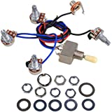 Electric Guitar Wiring Harness Kit LP Replacement, 2T2V 3 Way Toggle Switch 500K Pots with Jack for Dual Humbucker Les Pual Style Guitar, Cream Tip