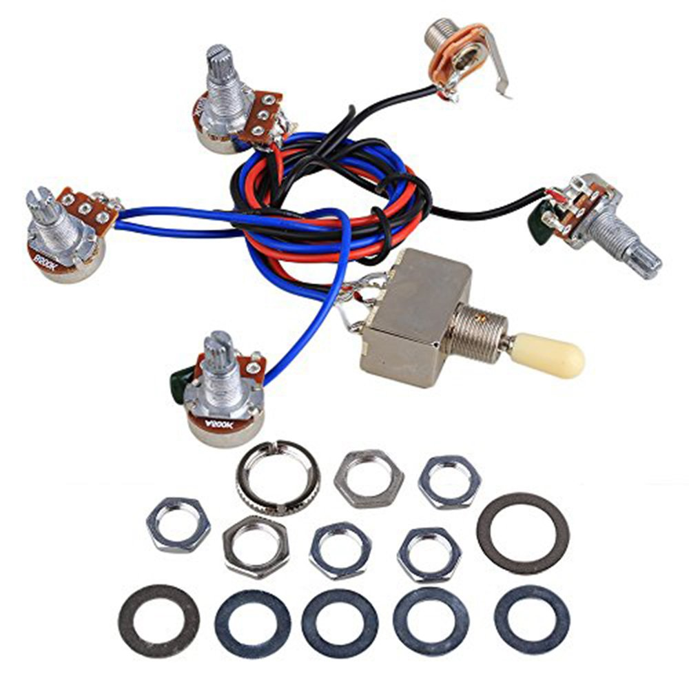 Electric Guitar Wiring Harness Kit Replacement For Lp Humbuckers 3way Toggle Switch 1 Volume Tone Coil Tap Reverse 2t2v 3 Way 500k Potsjack Dual Humbucker Gibson Les Pual Style