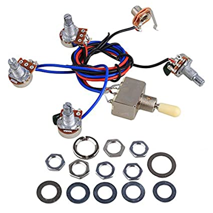 electric guitar wiring harness kit replacement for lp, 2t2v 3 way toggle  switch 500k pots&jack