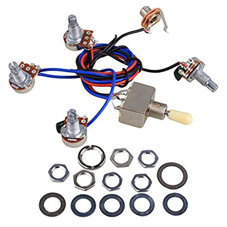 Electric Guitar Wiring Harness Kit Replacement for LP, 2T2V 3 Way Toggle  Switch 500K Pots&Jack for Dual Humbucker Gibson Les Pual Style Guitar,  Cream