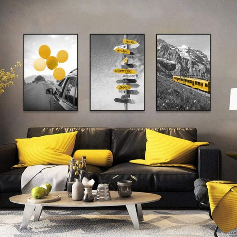 HENGCHENG Poster Peinture Affiches De Paysage Noir Et Blanc Et Toile dimpression Peinture Home Decor Wall Art Jaune Style Image Salon Moderne 13X18Cm sans Cadre