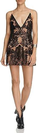 Free People New Women's Night Shimmer Mini Dress V-Neck Nylon Black