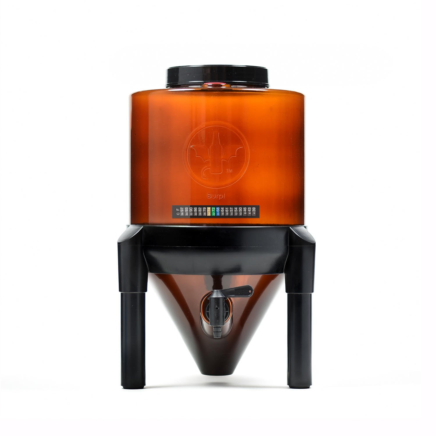 BrewDemon Conical Fermenter by Demon Brewing Company - Amber - NO NEED TO SIPHON 25% Heavier Duty Beer-Cider-Mead-Wine-Kombucha Fermenter Brewing System