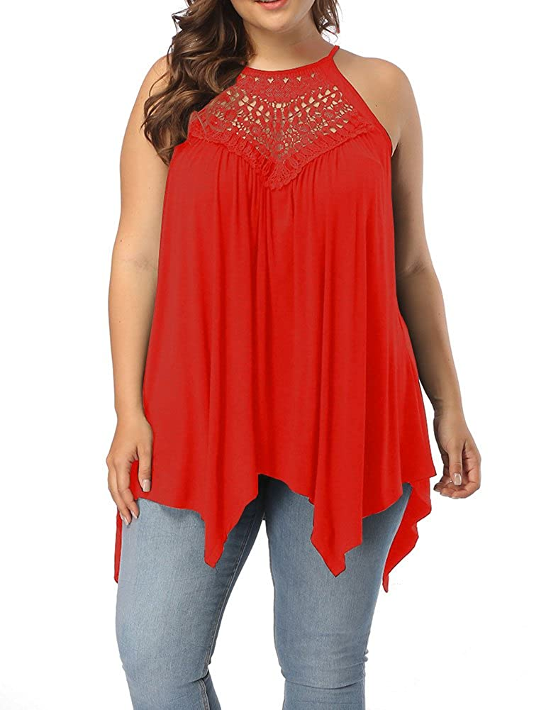 Allegrace Women's Plus Size Lace Front Spaghetti Strap Tunic Tops Sleeveless Pleated Long T Shirts AG410
