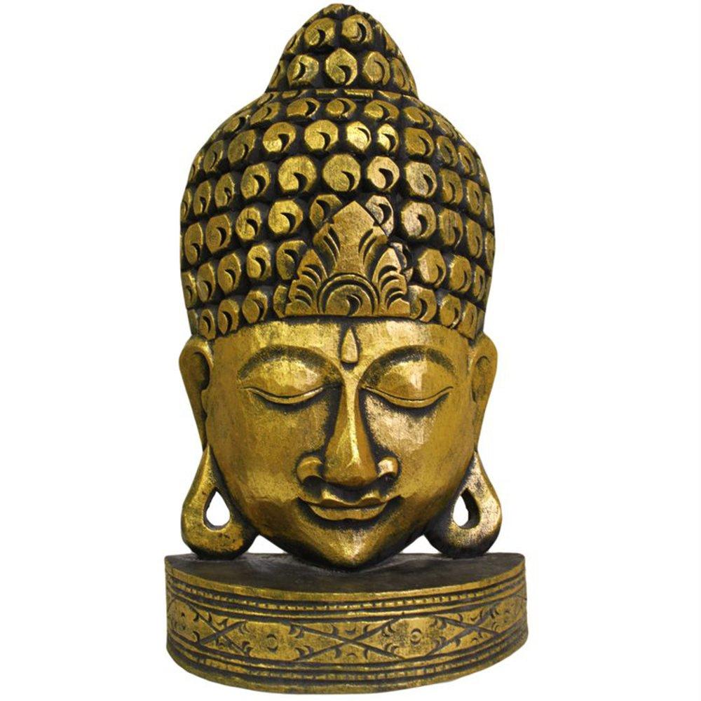 Albesia bois sculpté à la main taille moyenne avec un Masque de bouddha Doré Ancient Wisdom