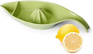 SWEEJAR Ceramic Citrus Juicer, Stoneware Lemon Squeezer with Boat Shape, Manual Fruit Reamer, (Green)