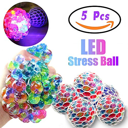Great Features Of Qiwoo 5 Pack Mesh Squishy Ball LED Squeeze Grape Ball Multi-Color Glowing Flashing...