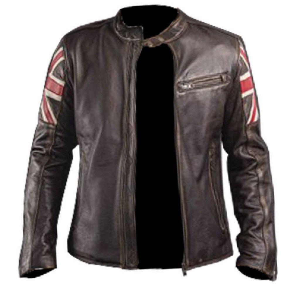e-clothing UK Bandera Cr/áneo Chaqueta de Cuero Genuino Marron Oscuro