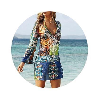 ad3f1c8b77 aoliaoyudongyongpin Sexy Swimsuit Cover up Long Sleeve Bikini Cover Ups  Chiffon Flower Beach Mini Dress Robe Vestidos at Amazon Women s Clothing  store