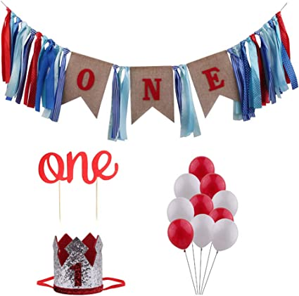 Red and Aqua blue first birthday party decorations highchair banner rag garland cake smash photo prop