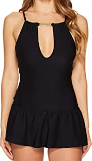 799405253a Kate Spade New York Womens Crescent Bay #74 High Neck Plunge Keyhole  Swimdress Cover-