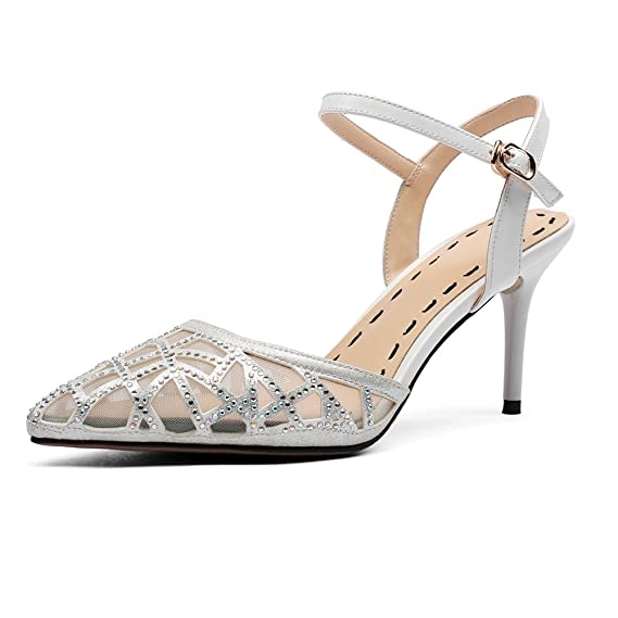 21e6b997a720e Damen Diamante Spitz High Heels Kleid Partei Pumps Pfennigabsatz ...