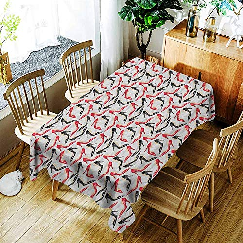XXANS Washable Tablecloth,Red and Black,Women Fashion Pattern with High Heel Stiletto Shoes Ladies Footwear,Party Decorations Table Cover Cloth,W50x80L Scarlet Black Beige