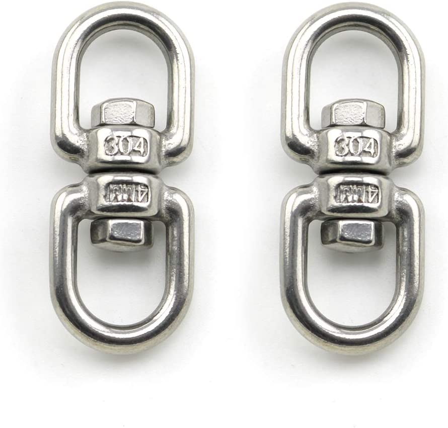 Lind Kitchen 2PCS M4 Double Ended Swivel Eye Hook 304 Stainless Steel Eye to Eye Swivel Shackle Ring Connector