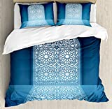 Arabian Duvet Cover Set by Ambesonne, Doors of Antique Mosque Grace Faith Theme Islamic Ethnic Illustration Print, 3 Piece Bedding Set with Pillow Shams, King Size, White Turquoise