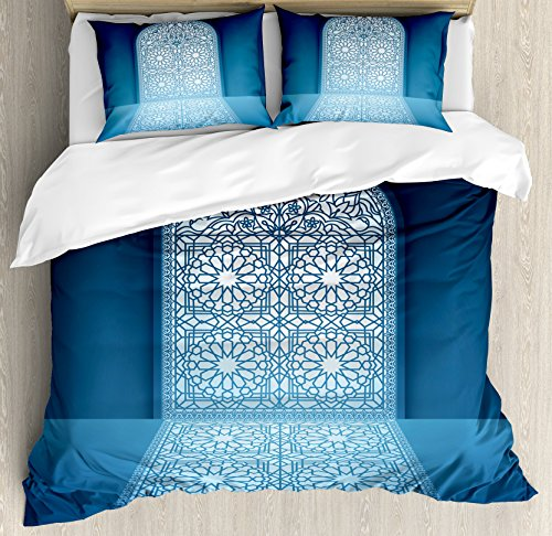 Arabian Duvet Cover Set by Ambesonne, Doors of Antique Mosque Grace Faith Theme Islamic Ethnic Illustration Print, 3 Piece Bedding Set with Pillow Shams, Queen / Full, White Turquoise by Ambesonne