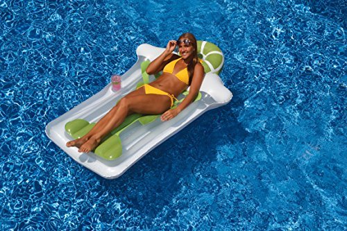 76 Green and White Novelty Margarita Matt Inflatable Swimming Pool Floating Raft by Swim Central