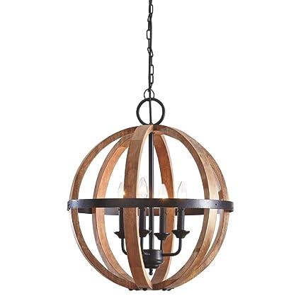 Amazon ashley furniture signature design emilano wood pendant ashley furniture signature design emilano wood pendant light rustic globe shaped black aloadofball Images