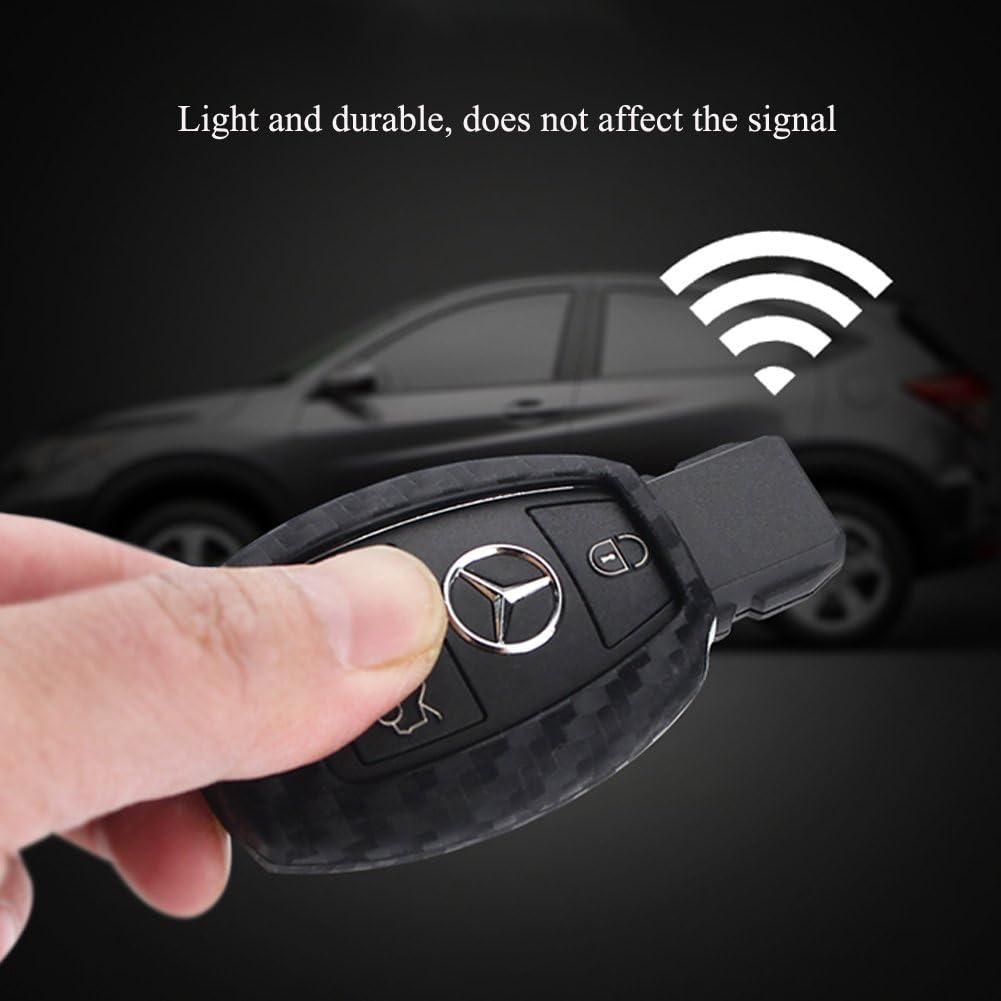 et YIKA CARBON FIBER STYLE Black Carbon Fiber Texture Leather Car Key Case Cover Holder Pouch Remote Key Chains Key Bag For Mercedes-Benz C E S M CLS CLK GLK GL Class