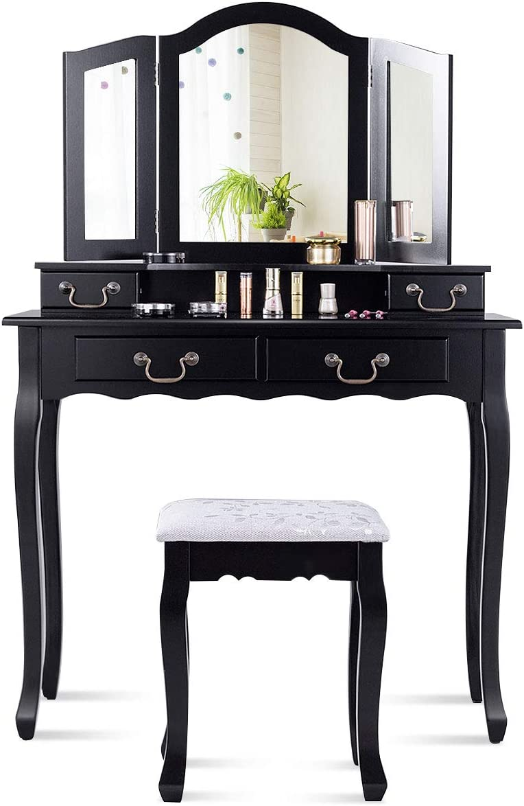 CHARMAID Tri-Folding Mirror Vanity Set with Cushioned Stool and 4 Drawers, Makeup Dressing Table with Cushioned Stool for Women Girls Bedroom, Bedroom Bathroom Vanity Table and Stool Set Black