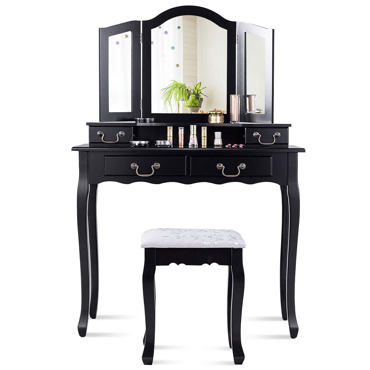 CHARMAID Tri-Folding Mirror Vanity Set with Cushioned Stool and 4 Drawers, Makeup Dressing Table with Cushioned Stool for Women Girls Bedroom, Bedroom Bathroom Vanity Table and Stool Set (Black)