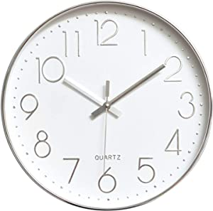 Tosnail 12 Inches Round Silent Non Ticking Quartz Wall Clock - Elegant Silver Frame