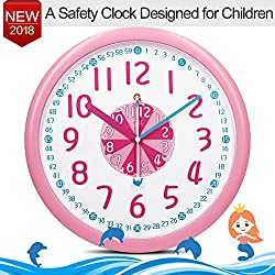 12 Colorful Kids Wall Clock Silent for Room-Cute Mermaid Dolphins Themes-ABS Plastic-Child Easy To Read Clock with Silent&Large Digits, Bedroom Decor Ideas/ Baby Shower Gift for Nursery/Boy Girl Pink
