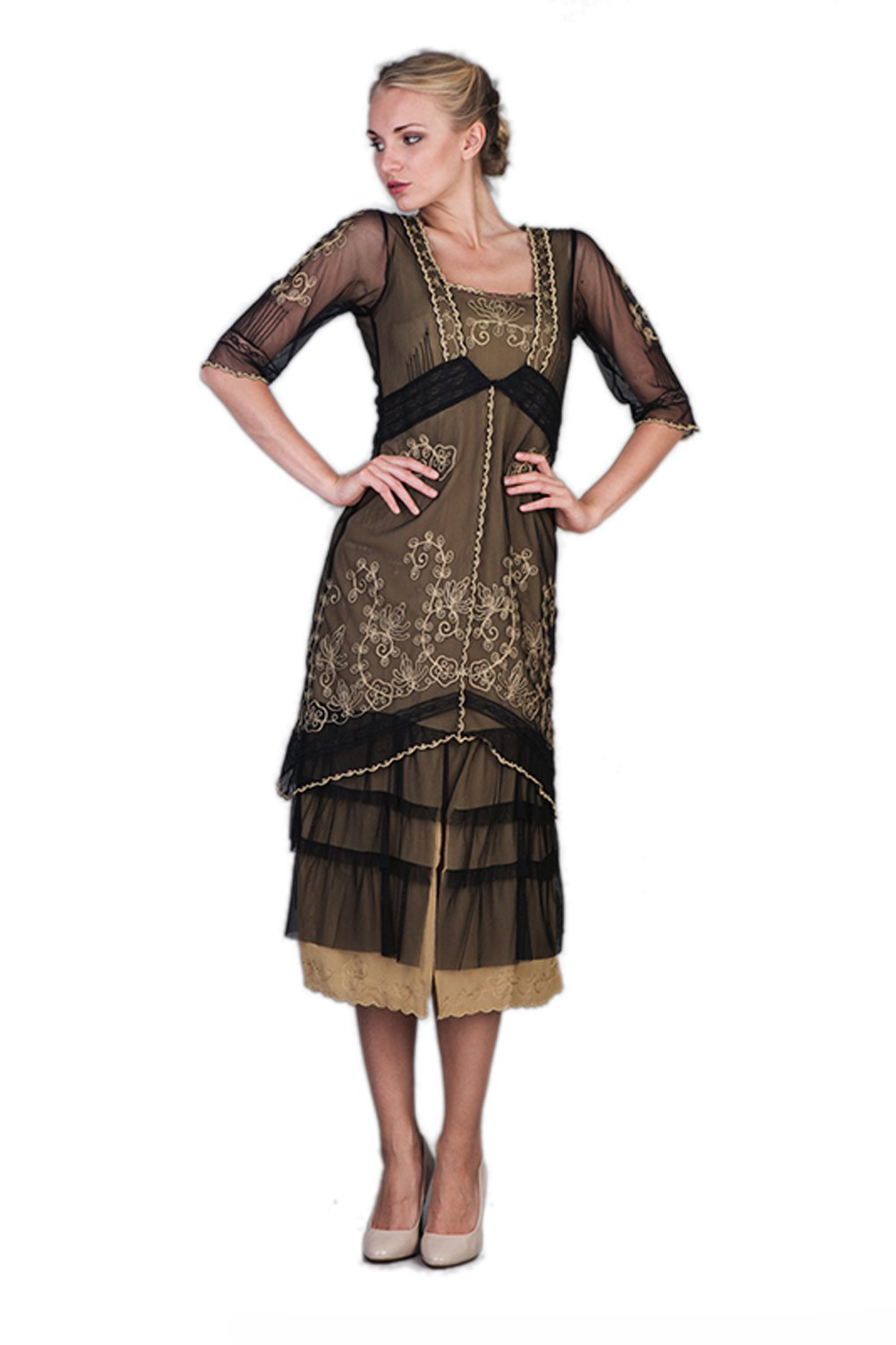 Nataya 2101 Women's Titanic Vintage Style Dress in Black/Gold (X-Large)