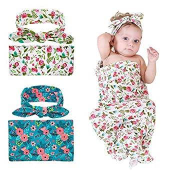 MHJY Newborn Swaddle Receiving Blanket,Baby Floral Swaddling Blankets with Headband Baby Photo Props