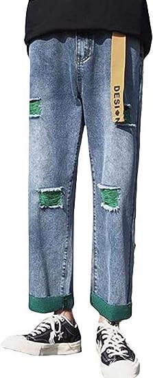 [ダーセン]メンズ デニムパンツ 九分丈 春 夏 ジーンズ ジーパン ストレート ボトムス お出掛け 通学 原宿風ズボン おしゃれ ワイドパンツ ファッション 薄手 通気 学院風