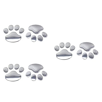 3D Car Paw Sticker Bear Dog Animal Foot Print Window Bumper Body Decal Silver