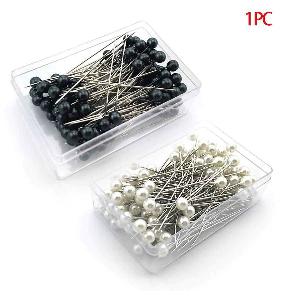 Vestido de aguja que hace bricolaje embellecer caja de artesan/ía embalada pines profesionales herramienta de costura cabeza de perla Blanco