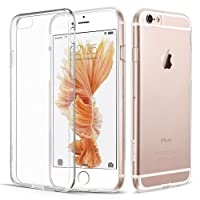 Connect Zone® Clear Transparent Ultra Slim Protective Shockproof Back TPU Silicone Gel Case Cover for iPhone 6/6S (4.7 inch) with Screen Guard And Polishing Cloth