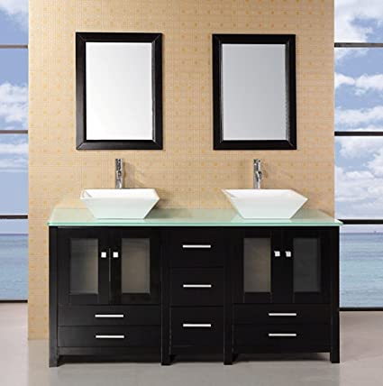 Design Element Arlington Double Vessel Sink Vanity Set With Tempered Glass  Countertop, 61 Inch