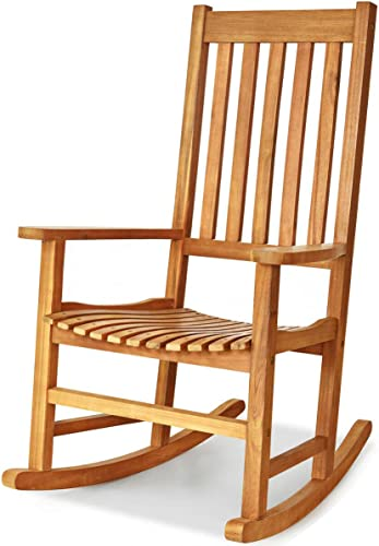 Teak Acacia Wood Rocking Chair Porch Rocker Comfortable Armrest Backrest Suitable