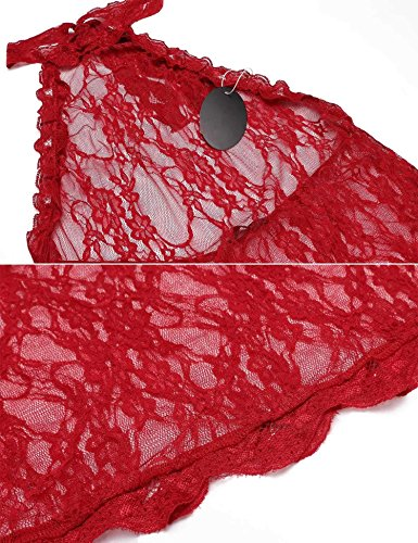 Rosso Maniche Donna ADOME Prospettiva Intima Babydoll Sexy Senza Lingerie qw8R6v8S