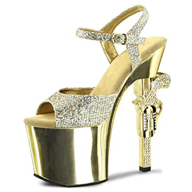 Amazon.com | Gold Glitter Heels with Rhinestone Encrusted Revolver