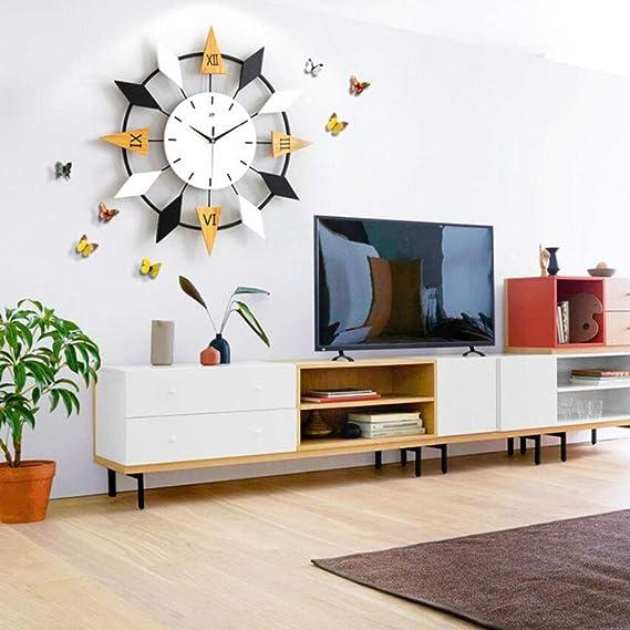 Cuisine Horloge Murale Moderne Horloge Silencieuse Pendules Murales D/écorative pour Salon Caf/é Chambre Bureau Bar LOISK Horloge Murale Feuille