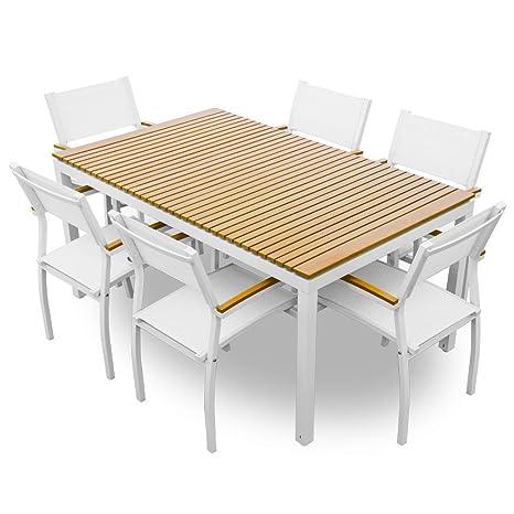Tavolo Metallo E Legno.Set Tavolo 6 Sedie In Metallo E Legno Arredo Esterno