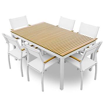Amazon De Set Tisch 6 Stuhle Aus Metall Und Holz