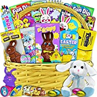 Yellow Easter Basket for Kids and Adults 30ct - Already Filled Easter Gift Basket with Plush Easter Bunny, Chocolate, Candy, and Toys - Boys, Girls, Grandchildren, Young Children, Toddlers, Men, Women